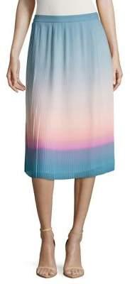 Halston H Ombre Pleated Midi Skirt