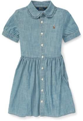 Ralph Lauren Kids Ruffled Chambray Dress
