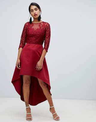 Chi Chi London lace 2 in 1 skater dress with high low hem in wine