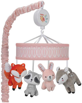Lambs & Ivy Little Woodland Raccoon, Bunny, Dear, and Fox Musical Baby Crib Mobile Bedding