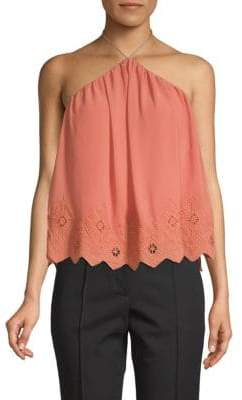 ASTR the Label Embroidered Scalloped Top