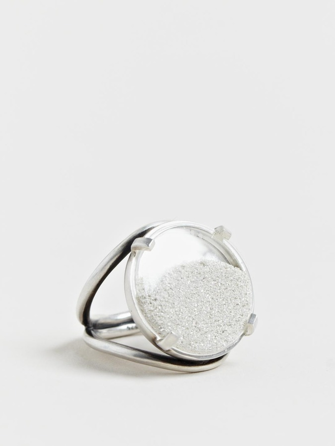 Ann Demeulemeester Women's Medallion Silver Sand Ring