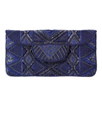 Aspiga Blue Mzuri Beaded Clutch Bag