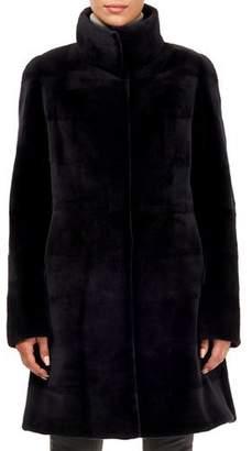 Gorski Sheared Mink Fur Stand-Collar Stroller Coat