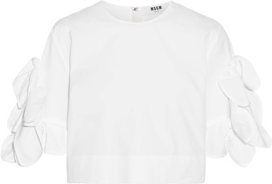 MSGM - Cropped Knotted Cotton-blend Poplin Top - White