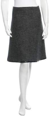 Chanel Leather-Trimmed Tweed Skirt