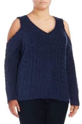 Plus Cable-Knit Cold-Shoulder Sweater