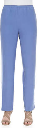 Go Silk Solid Silk Pants, Blue, Plus Size