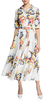 Badgley Mischka Floral-Print Button-Down Elbow-Sleeve Belted Shirtdress