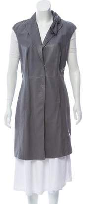 Brunello Cucinelli Leather Cap Sleeve Coat