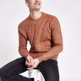 River Island Mens Rust slim fit V neck cable knit jumper