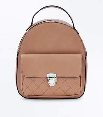 New Look Tan Quilted Pocket Mini Backpack