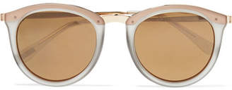 Le Specs No Smirking Round-frame Acetate Mirrored Sunglasses - Gold