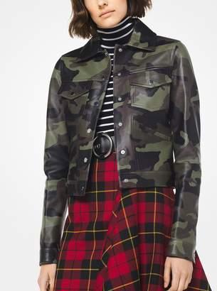Michael Kors Camo Plonge Leather Jacket