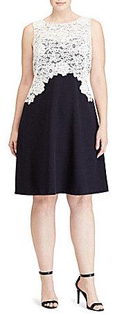 Lauren Ralph LaurenLauren Ralph Lauren Plus Bateau Neck Sleeveless Lace-Bodice Crepe Dress