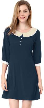 Allegra K Women Peter Pan Collar 3/4 Sleeves Above Knee Shift Dress S Dark