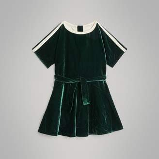 Burberry Stripe Detail Velvet Dress , Size: 4Y, Green