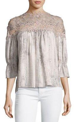 Elie Tahari Neila Floral Lace-Trim Plisse Blouse $368 thestylecure.com