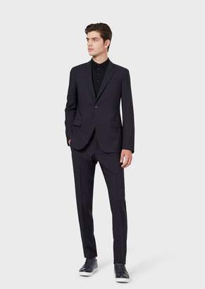 Emporio Armani Single-Breasted Travel Essential Textured Striped Suit Made Of Light Wool