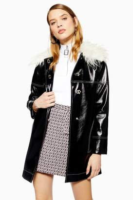 Topshop Womens Vinyl Coat - Black