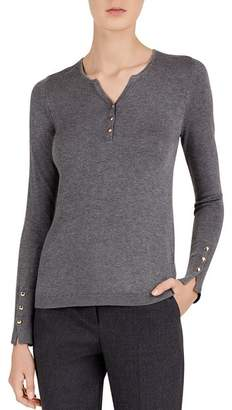 Gerard Darel Claire Button-Detail Fitted Sweater