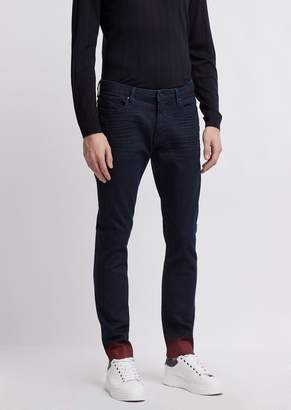 Emporio Armani Slim-Fit J06 Jeans With Contrasting Fade-Out Coated Hemline