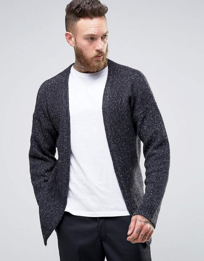 ASOS Chunky Knit Cardigan In Gray