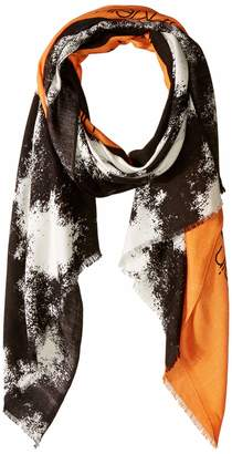 Calvin Klein Women's Colorblock Distressed Printed Pashmina