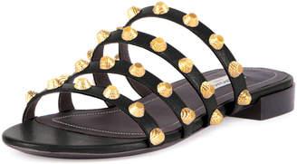 Balenciaga Studded Flat Slide Sandal, Black