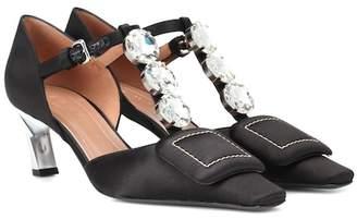 Marni Crystal-embellished satin pumps