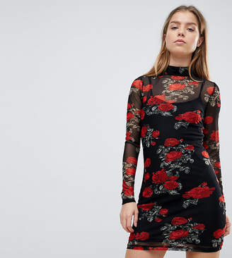 Noisy May Petite Mesh Dress With Rose Print