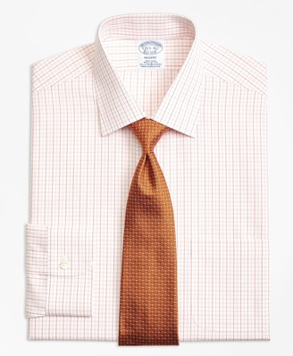 Brooks Brothers Regent Fitted Dress Shirt, Non-Iron Double Split Windowpane
