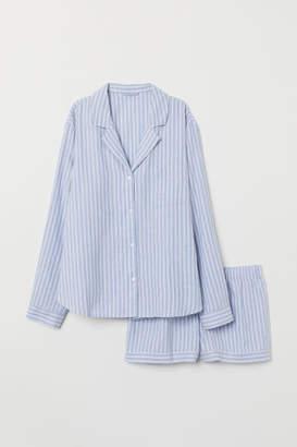 H&M Pajama Shirt and Shorts - Blue
