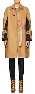 Sacai Women's Wool Melton Deconstructed Topcoat - Beige, Navy