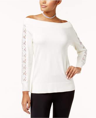 Thalia Sodi Off-The-Shoulder Crochet-Trim Sweater