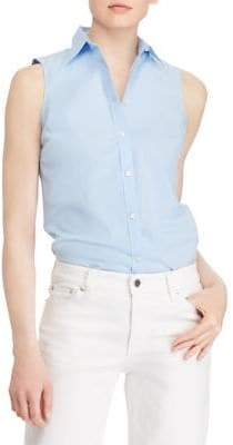 Lauren Ralph Lauren Stretch Sleeveless Button-Down Shirt