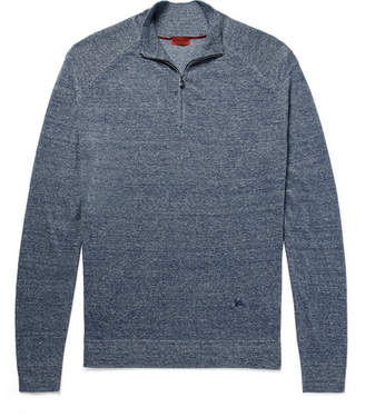Isaia Mélange Linen And Cotton-Blend Half-Zip Sweater
