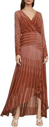 BCBGMAXAZRIA Sunburst Fan Faux Wrap Maxi Dress