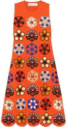 Victoria Beckham Victoria Embroidered Crepe Midi Dress