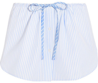 Alexander Wang - Striped Cotton Shorts - Sky blue $375 thestylecure.com