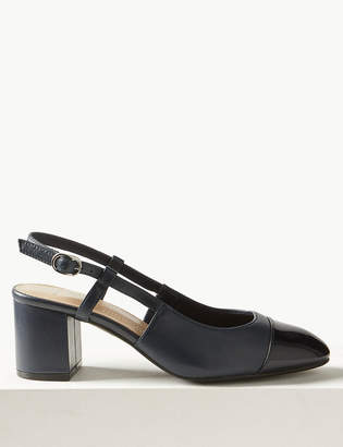 20414bf13c1 M S CollectionMarks and Spencer Leather Block Heel Slingback Shoes