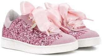 MonnaLisa lace detail glittered sneakers