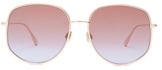 Christian Dior Diorbydior Chain Edge Square Metal Sunglasses - Womens - Blue Gold