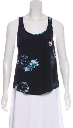 AllSaints Printed Silk Sleeveless Top