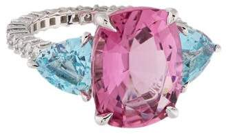 Paolo Costagli 18K Pink Tourmaline, Aquamarine & Diamond Ring