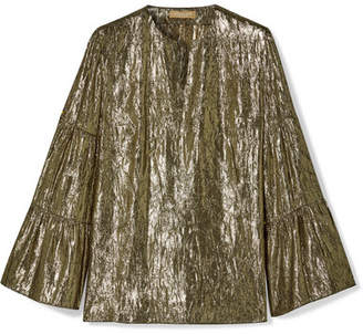 Michael Kors Metallic Silk-blend Lamé Blouse - Gold