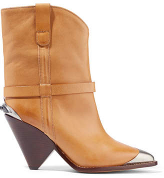 Isabel Marant Lamsy Embellished Leather Ankle Boots - Sand