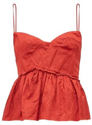 Brock Collection Peplum Hem Satin Bustier Top - Womens - Red