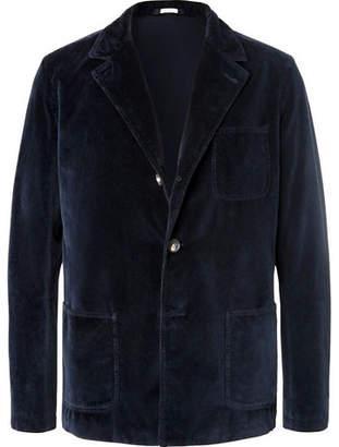 Massimo Alba Midnight-Blue Baglietto Cotton-Velvet Blazer