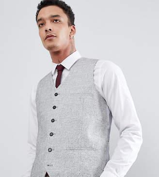 Heart & Dagger Slim Wedding Vest In Linen Texture